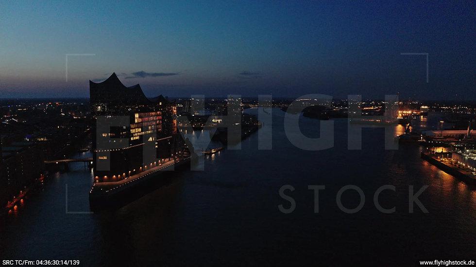 Hamburg Hafen Elbphilharmonie Rückflug morgens