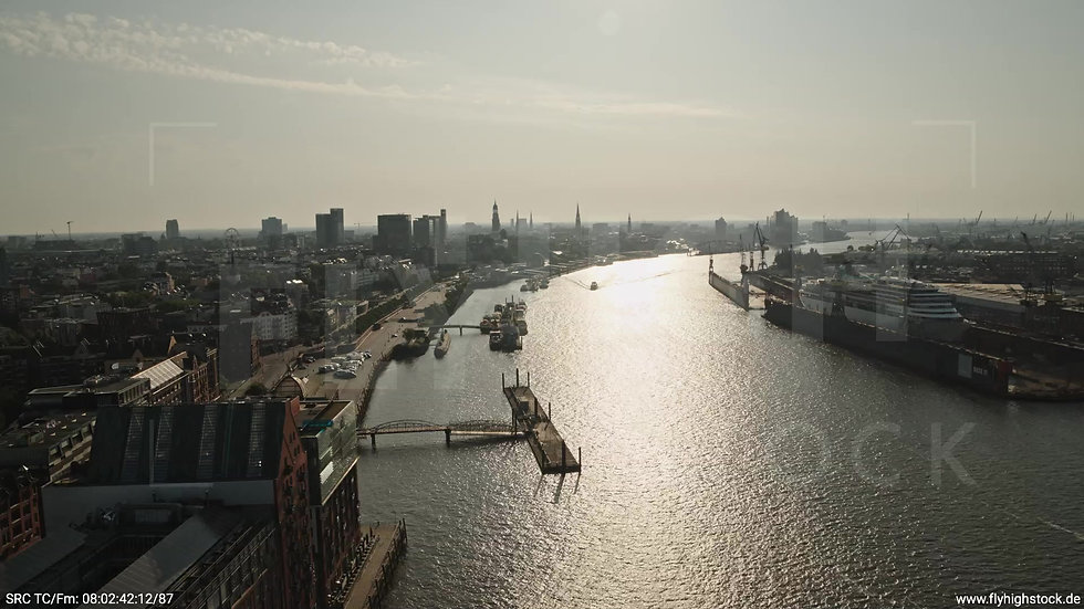 Hamburg Altonaer Holzhafen Skyline Rückflug morgens 5