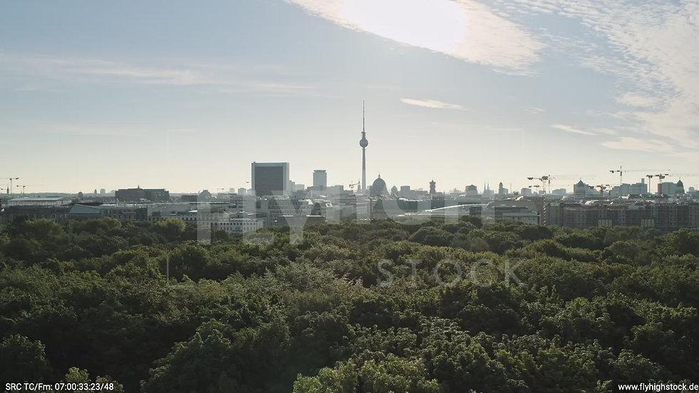 Berlin Tiergarten Brandenburger Tor tiefer Parallelflug morgens D030_C021