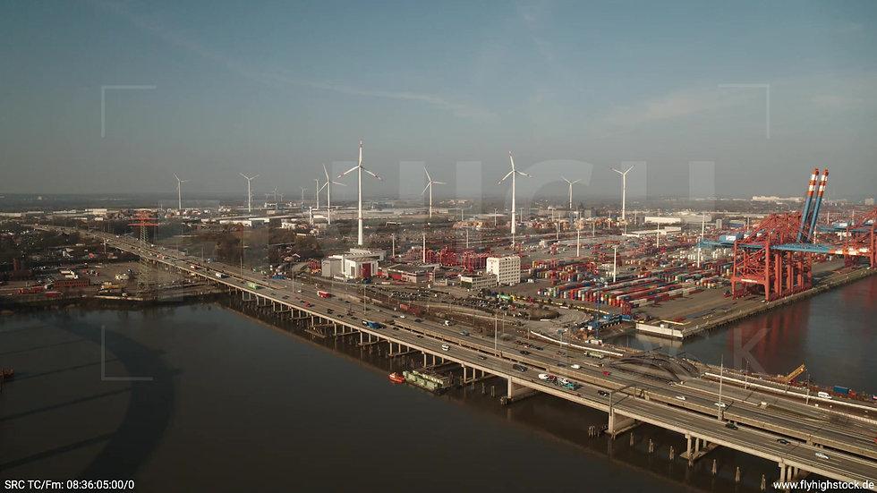 Hamburg Hafen Rückflug Containerterminal morgens