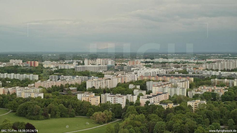 München Ostpark Stadtteil-Shot Zuflug nach unten tagsüber 4