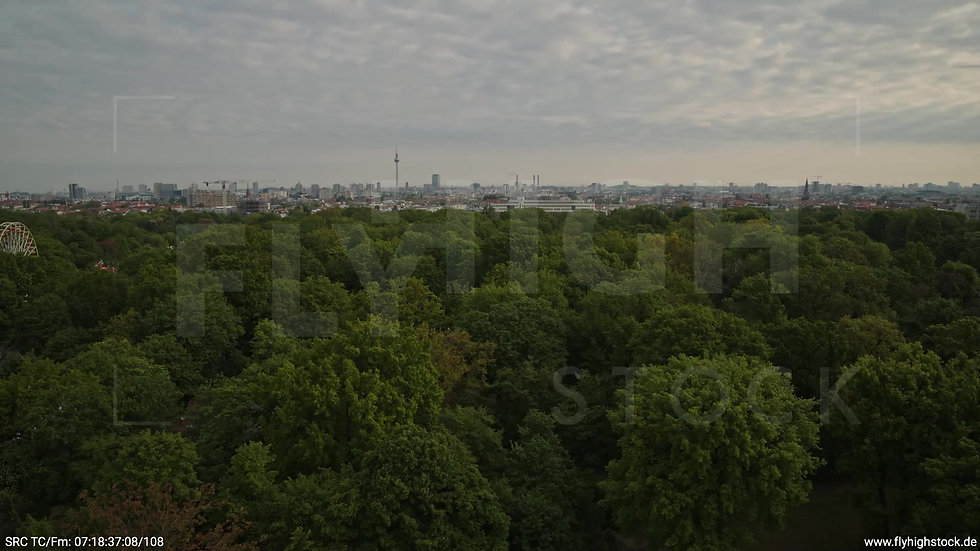 Berlin Hasenheide Skyline Zuflug morgens 14