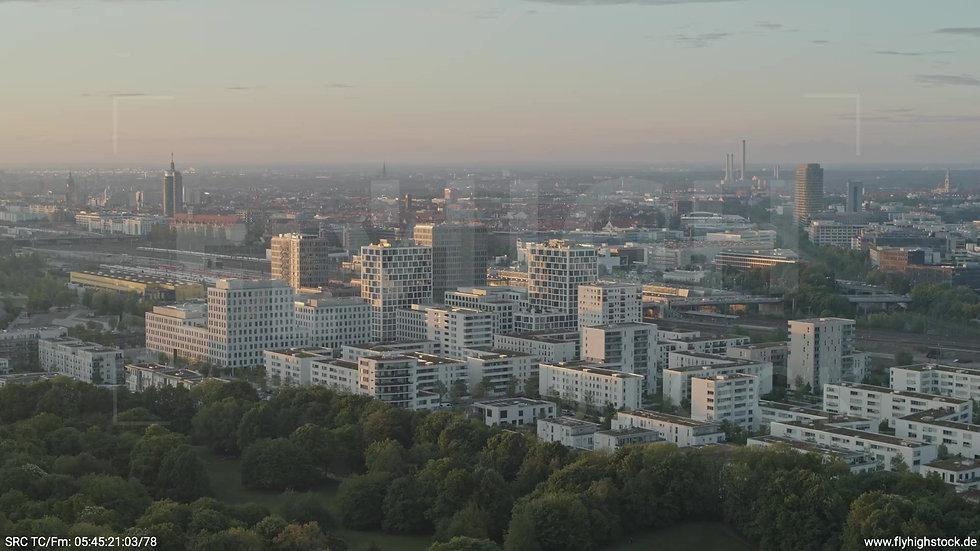 München Hirschgarten Skyline Zuflug nach unten morgens 6