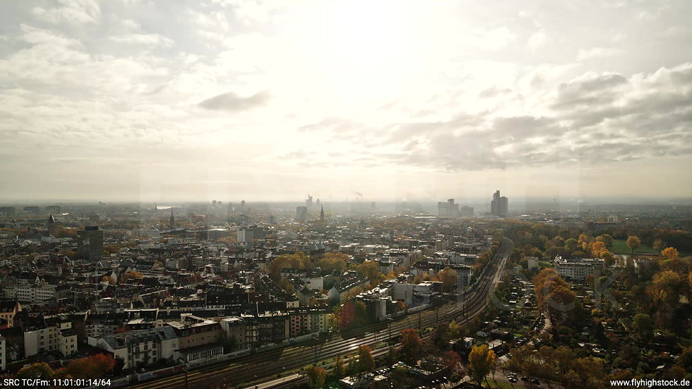 Köln Innerer Grüngürtel Skyline Zuflug tagsüber C028_C006
