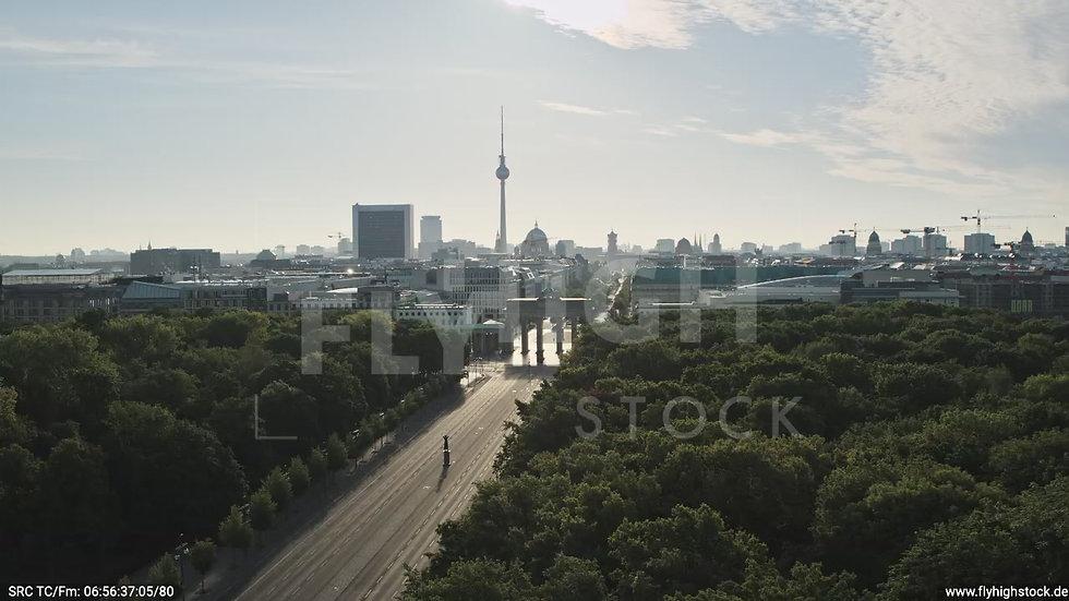 Berlin Tiergarten Brandenburger Tor tiefer Rückflug morgens D030_C016