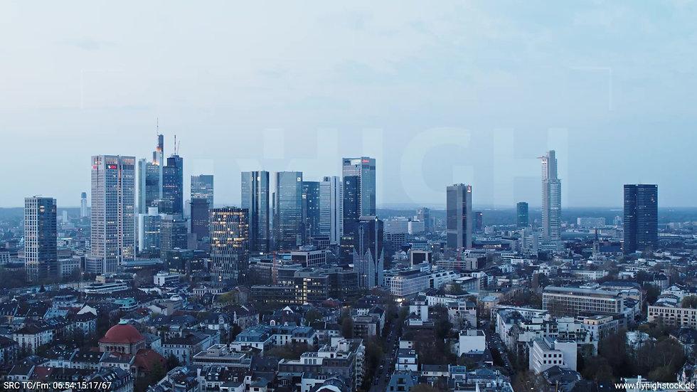 Frankfurt Grüneburgpark Rückflug Skyline morgens 3