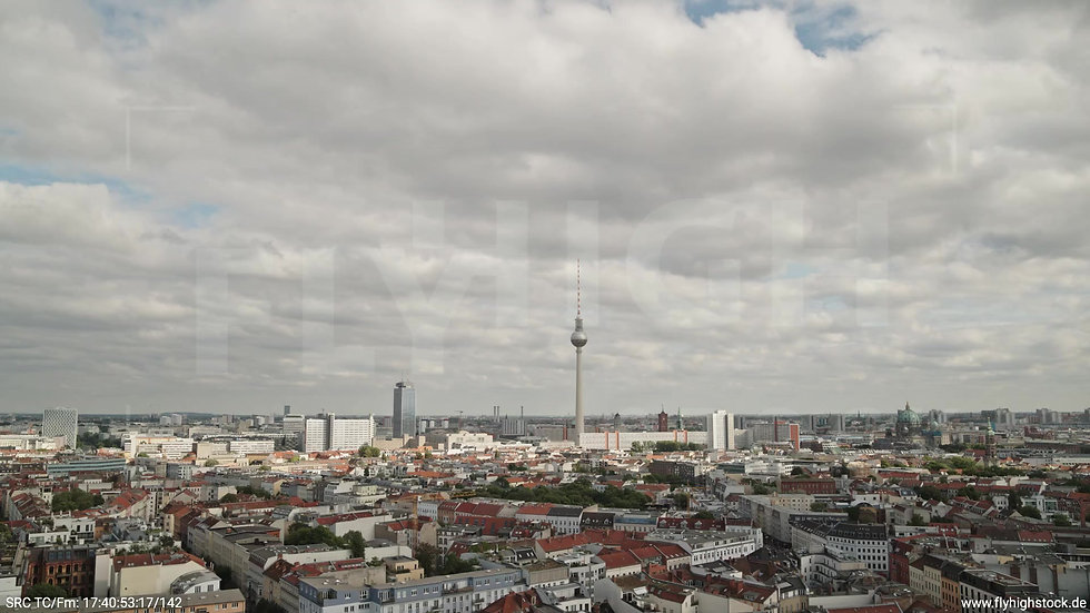Berlin Volkspark am Weinberg Alexanderplatz Skyline Zuflug tagsüber 3