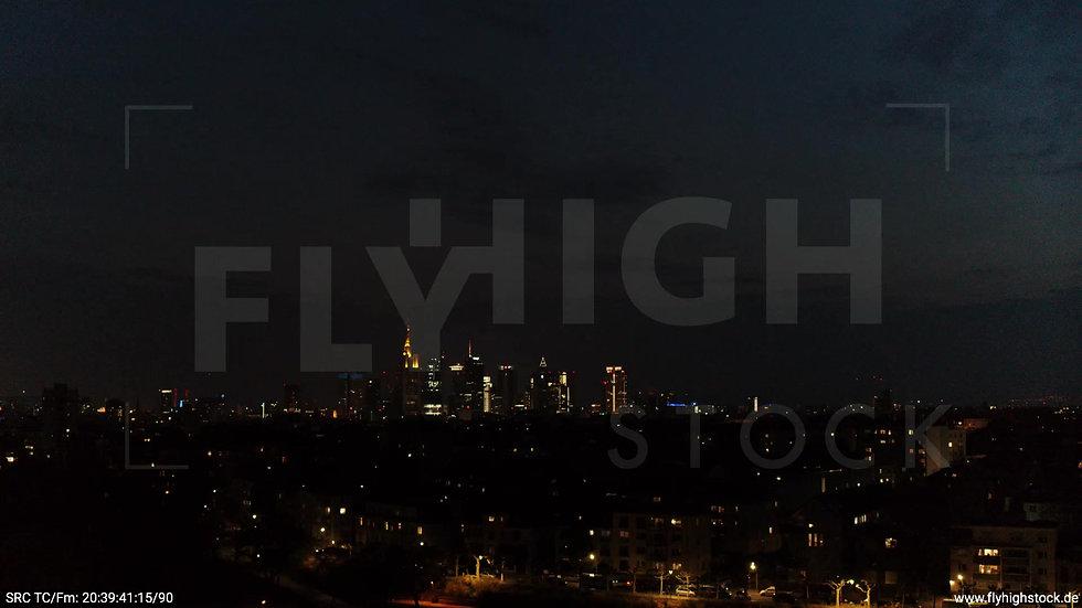 Frankfurt Ostpark Rückflug Skyline nachts