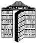 A black and white bookcase with the middle section open like a door and the words Ninja Book Box