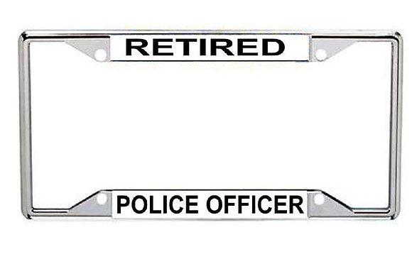 Retired Police Officer Metal License Frame