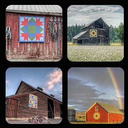 Quilt Barns of Kittitas County Washington Rubber Coaster Set of 4 Set #2