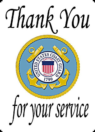 US Coast Guard Thank You For Your Service Banner Panel