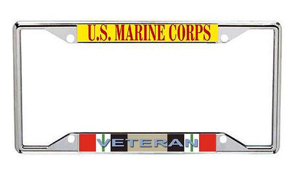 Iraq Veteran US Marine Corps Metal License Frame