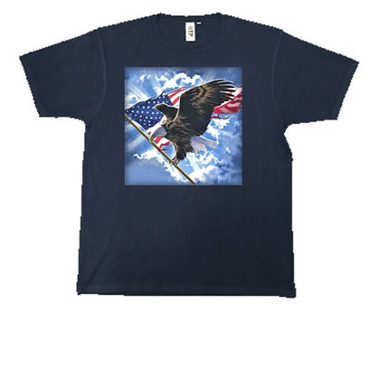 Patriotic Flying Eagle With Flag Crew Neck Unisex T-Shirt