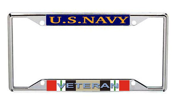 Iraq Veteran US Navy Metal License Frame
