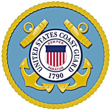 "U.S. Coast Guard 8"" Emblem on Cotton Fabric"