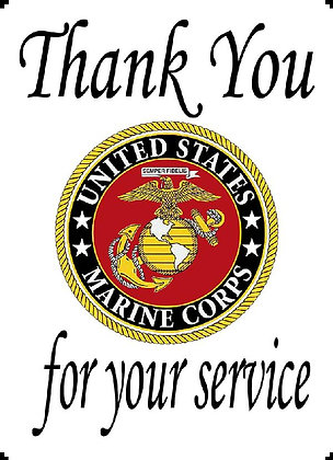 US Marine Corps Thank You For Your Service Banner Panel