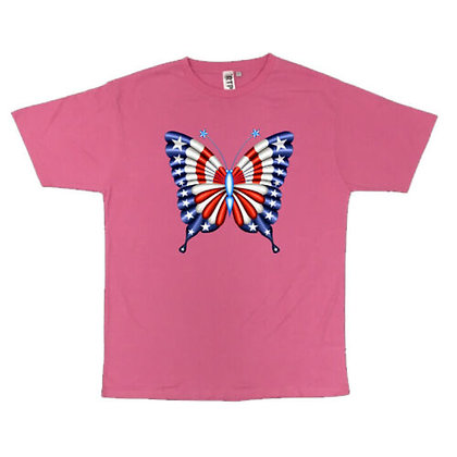 Patriotic Butterfly Crew Neck Unisex T-Shirt