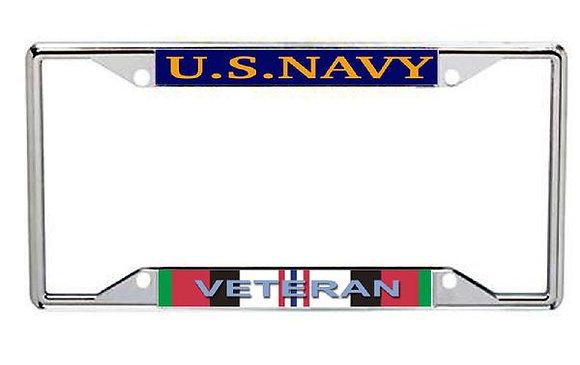 Afghanistan Veteran US Navy Metal License Frame