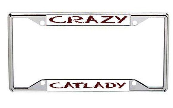 Crazy Catlady Metal License Frame