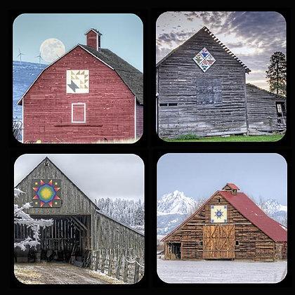 Quilt Barns of Kittitas County Washington Rubber Coaster Set of 4 Set #1