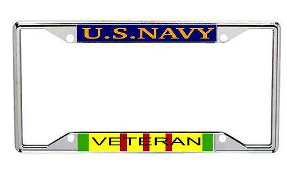 Vietnam Veteran US Navy Metal License Frame