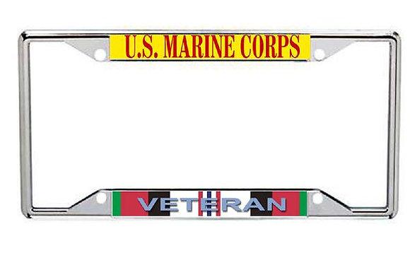 Afghanistan Veteran US Marine Corps Metal License Frame