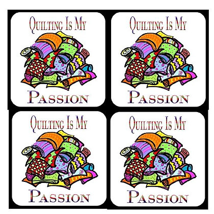 Quilting Is My Passion  Rubber Coaster Set of 4
