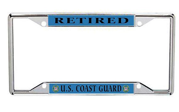 Retired US Coast Guard Metal License Frame