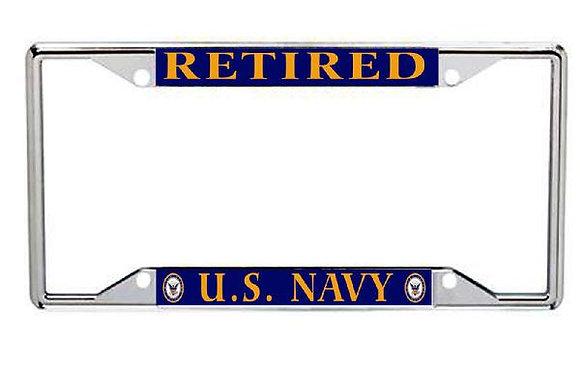 Retired US Navy Metal License Frame