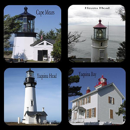 Oregon Lighthouse Rubber Coaster Set of 4