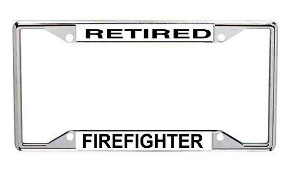 Retired Firefighter Metal License Frame