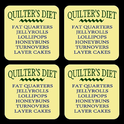 Quilter's Diet Rubber Coaster Set of 4