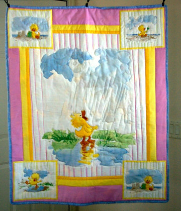 Fluffy Duck Panel Baby Blanket 35x42""