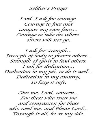 "Soldier's Prayer 8x10"" Cotton Fabric Quilt Block"