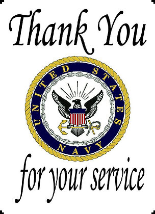 US Nayy Thank You For Your Service Banner Panel