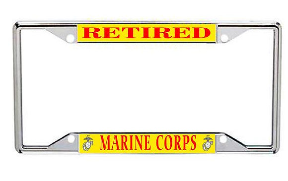 Retired US Marine Corps Metal License Frame