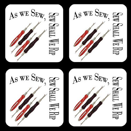 As We Sew, Sew Shall We Rip Rubber Coaster Set of 4
