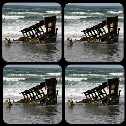 Peter Iredale Shipwreck on Oregon Coast Rubber Coaster Set of 4