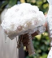 White Real Touch Roses and Rhinestone Brooch Bouquet