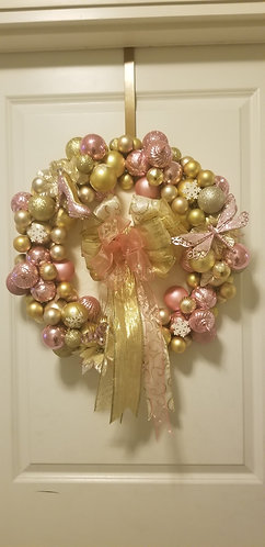 Pink & Gold Elegance Winter Wreath