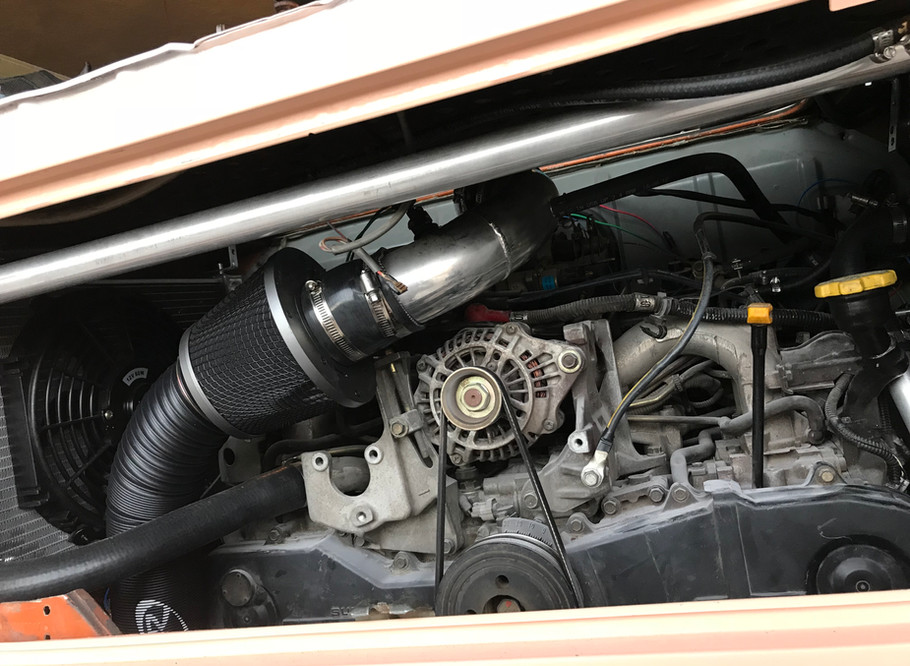 """The """"new"""" Subaru engine sitting in the VW!"""