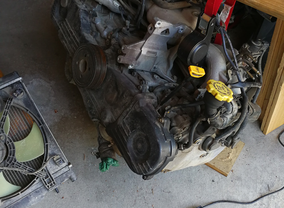 The Subaru engine ready to go in the VW Bus!