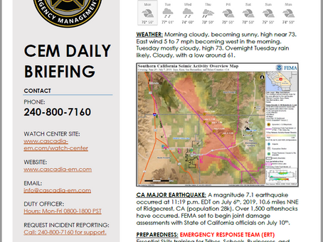 CEM Daily Briefing | 08JUL19