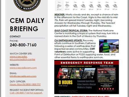 CEM Daily Briefing | 09JUL19