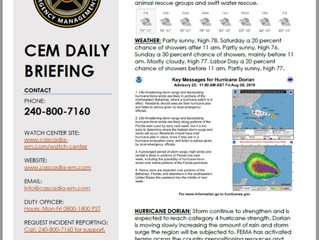 CEM Daily Briefing | 30AUG19