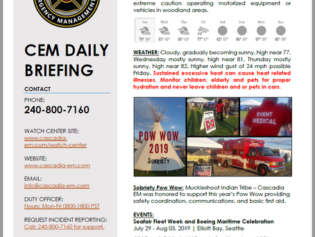 CEM Daily Briefing | 30JUL19