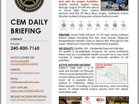 CEM Daily Briefing | 29JUL19