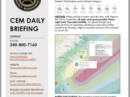 CEM Daily Briefing | 06SEP19