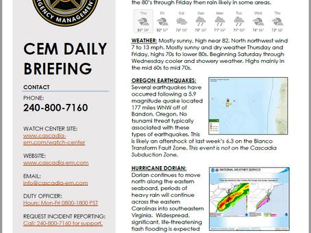 CEM Daily Briefing | 05SEP19